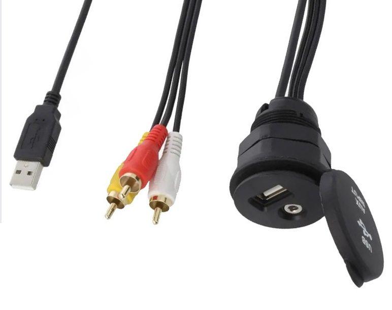 Montážní vstup USB a AV s krytkou a kabelem 4CARMEDIA - Autoradia-Hifi.cz
